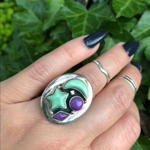 Sterling moon and star ring